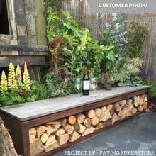 Corten Garden Bench & Log Store