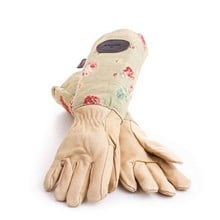Floral Leather and Linen Garden Gloves