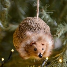 Fur Fabric Hedgehog Hanging Decoration by Gisela Graham