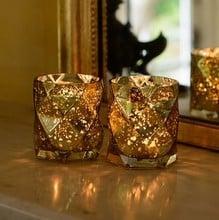 Luxury Glass Tea Light Holders (Set of 2) by Sia