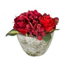 Mixed Red Flower Table Arrangement by Sia