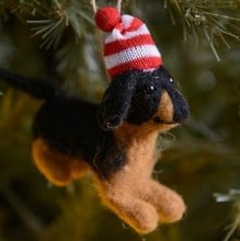 Puppy with Hat and Scarf Hanging Decorations (set of 2)