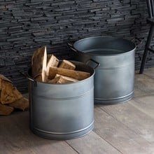 Round Galvanised Steel Planters Set of 2