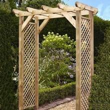 Squared Lattice Wooden Garden Arch