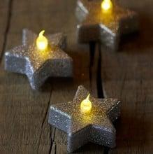 Star LED Glitter Tea Lights (Set of 6)