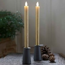 Tall Gold LED Candles with Auto Timer (2 pack)