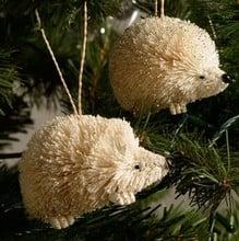 White Bristle Hedgehog Tree Decorations (set of 2)