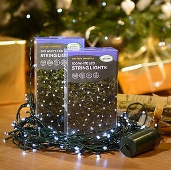 Automatic Battery White LED String Lights (20m Long)