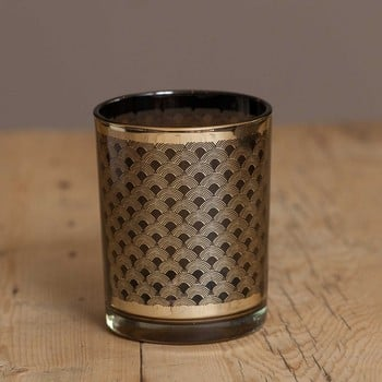 Black and Gold Glass Candle Holders by Sia