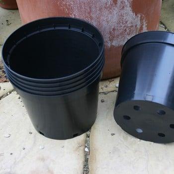 Black Plastic 10 litre Plant Pots (set of 6)