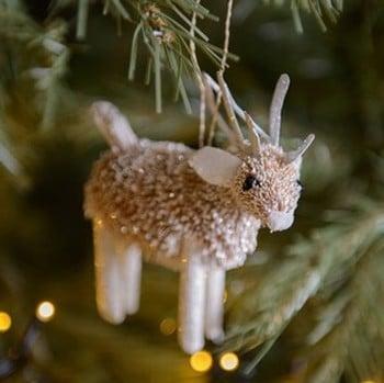 Bristle Silver Reindeer Decoration by Gisela Graham