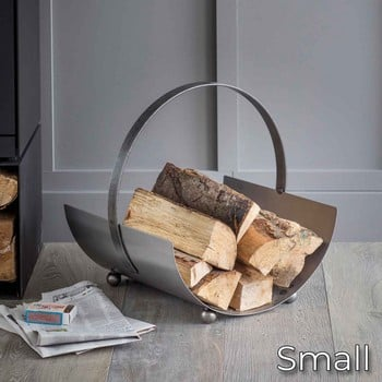 Contemporary Steel Log Carrier (small)