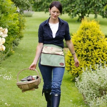 Floral Half Leather Apron Green