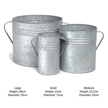 Galvanised Planters Set of 3