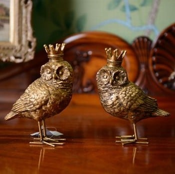 Gold Owl Decorations by Gisela Graham