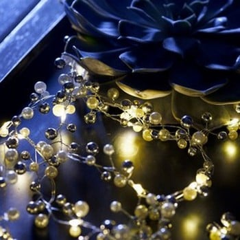 Pearly white/silver LED Garland with auto timer