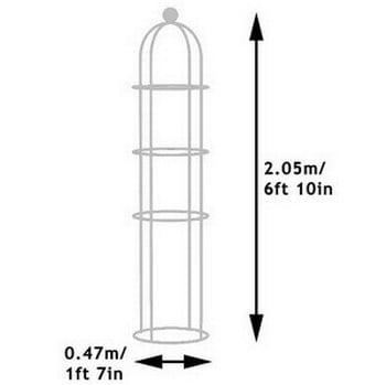 Round Column Wire Obelisk - Pigeon Grey