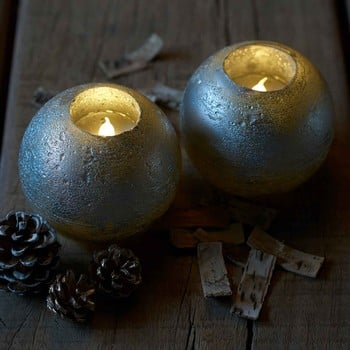 Round Silver LED Candles with Multi Auto Timer (Set of 2)