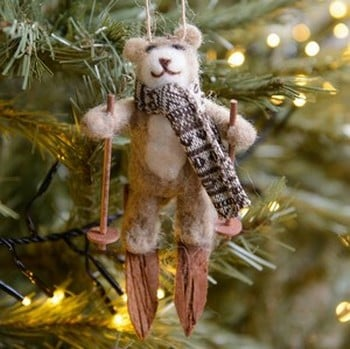 Teddy on Skis Tree Decoration by Gisela Graham