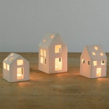 White Ceramic House Tea Light Holders - Set of 3 by Sia