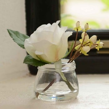 White Rose and Berries in Small Vase