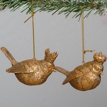 Antique Gold Resin Bird Tree Decorations (set of 2)