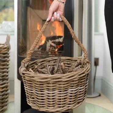 Kindling Basket with Rope Handle