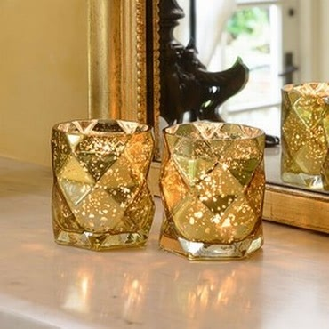 Luxury Glass Tea Light Holders (Set of 2) by Sia