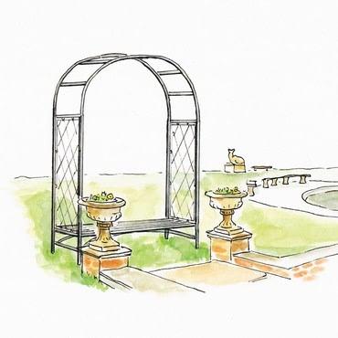 Roman Superior Half Lattice Arch with Bench