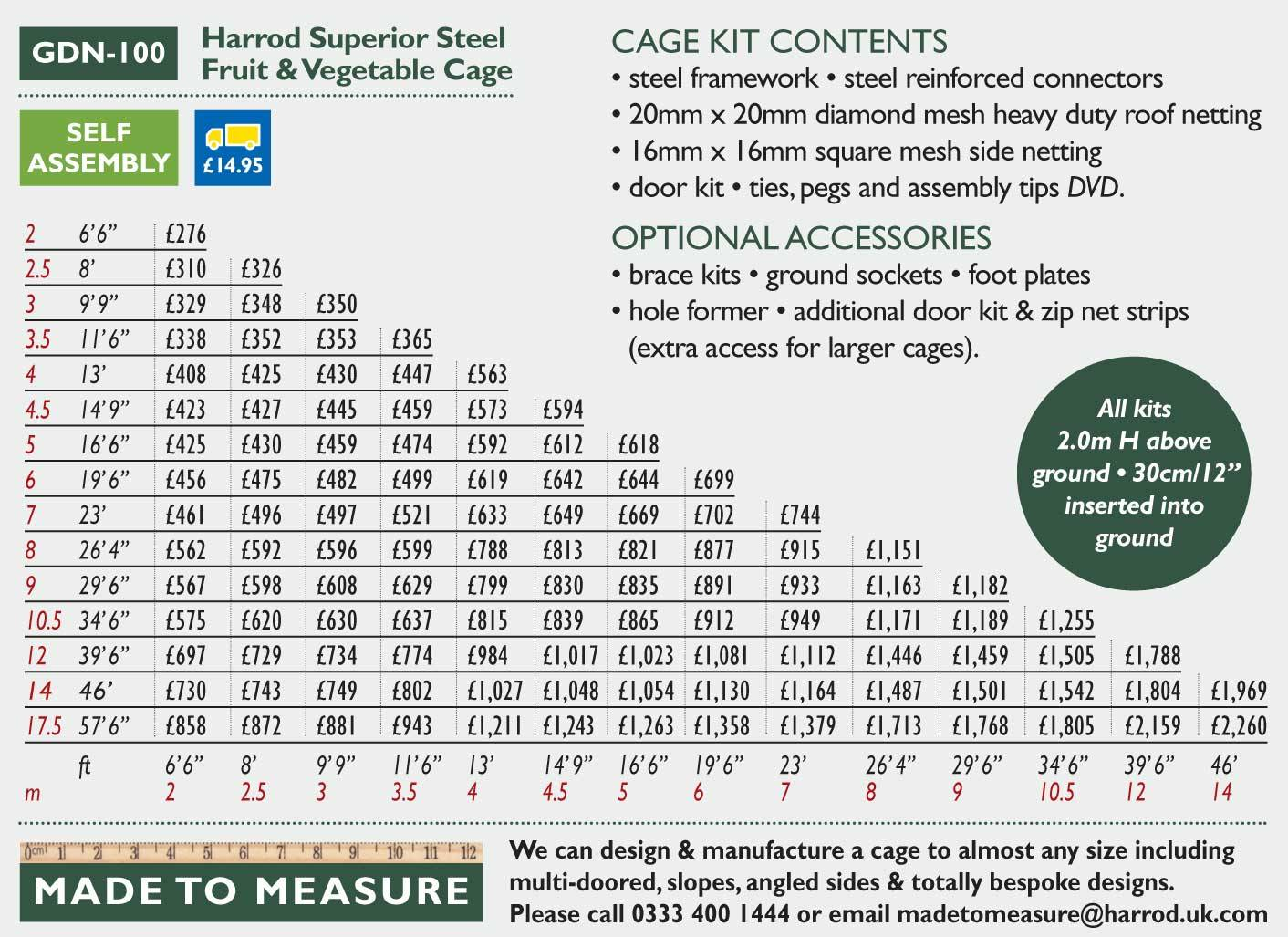 GDN-100 Steel Cage Price Grid 2016