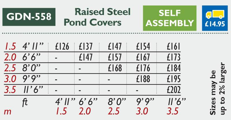 GDN-558 Raised Steel Pond Covers Price Grid 2016