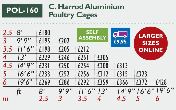 POL-160 Aluminium Poultry Cage Price Grid 2016
