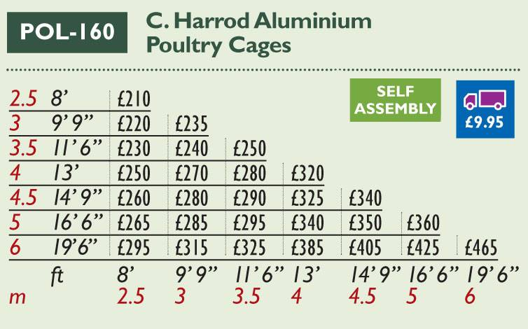 POL-160 Aluminium Poultry Cage Price Grid 2017