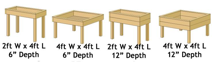 Raised Bed Table Range - Standard