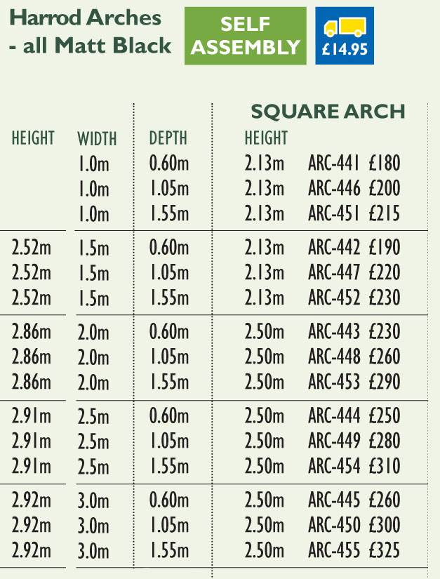 Square Garden Arch Price Grid 2017