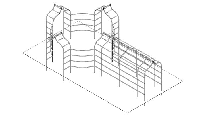Ogee Pergola Arches and Fence Design