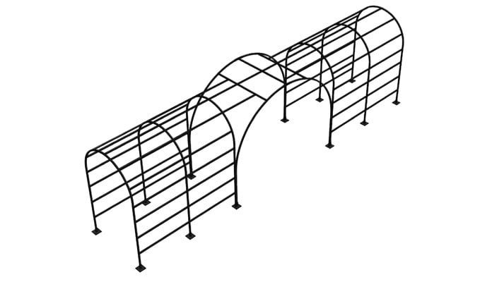 Roman Bisecting Pergola Above Ground CAD 1