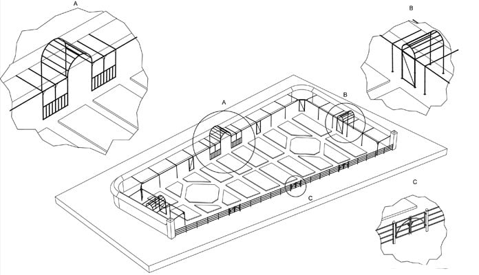 Walled Garden Estate Fencing CAD Drawing 2
