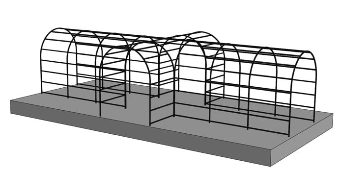 2m Roman Pergola with Two Side Entrances Design