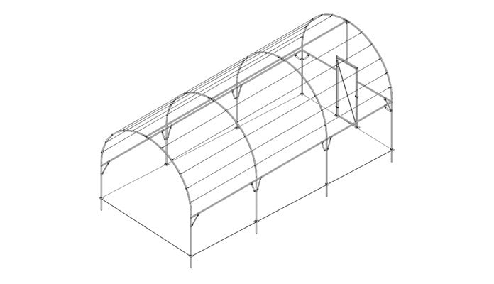 3.m Wide Roman Arch Fruit Cage Sloped and on an Angle Design