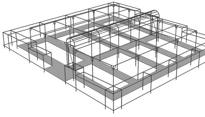 Example Project- Arched fruit cage surrounded by a perimeter of fruit cages