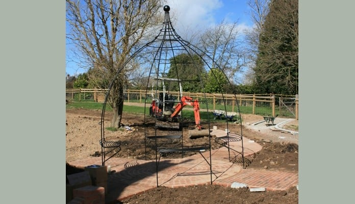 Wire Rose Gazebo in Place 2