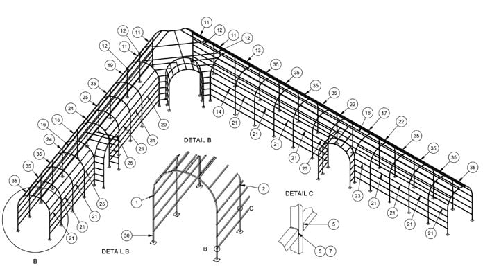 Roman Pergola Walkway CAD Drawing 2