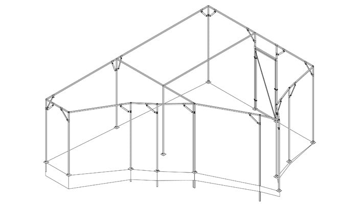 Angled Sloping Steel Cage Design