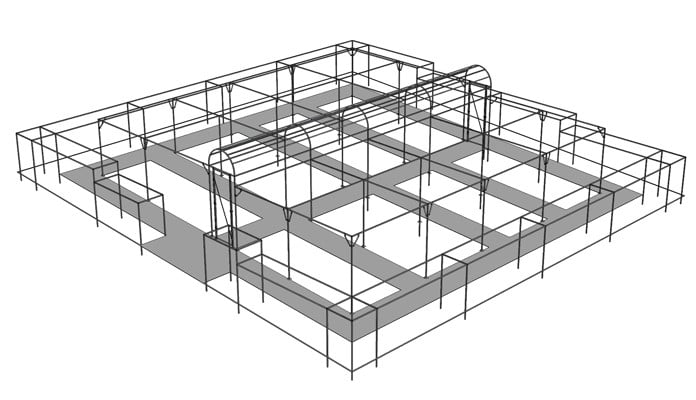 Stepped Corridor Cage with Flat Roof Surround