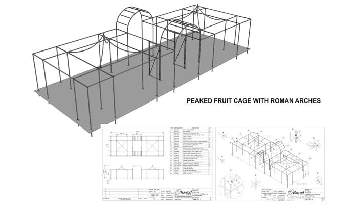 Decorative Cage & Roman Arches CAD Drawing