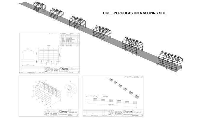 Sloping Ogee Pergolas CAD Drawing