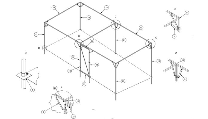 Fruit Cage Steel Sloped 3 CAD Drawing 2