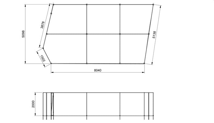 Fruit Cage Steel Angled CAD Drawing 1
