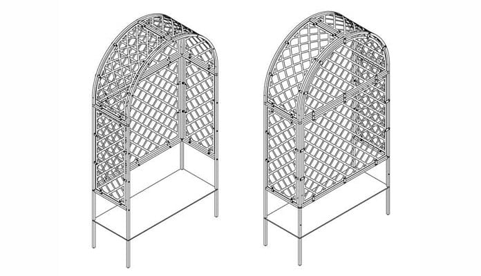 Roman Fully Latticed Arbour Design